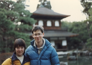 My husband and me in Kyoto (Jan. 1988)